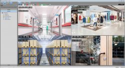 pelco ds controlpoint vms with four screenshots
