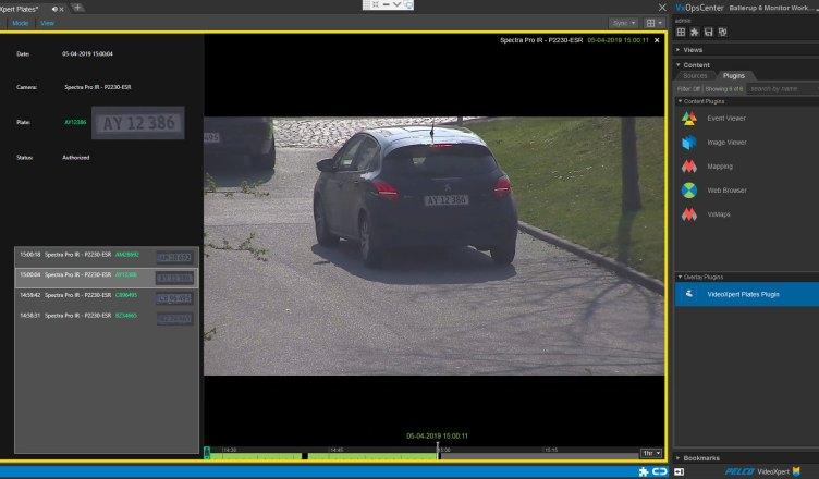 videoxpert plates with ops center screenshot